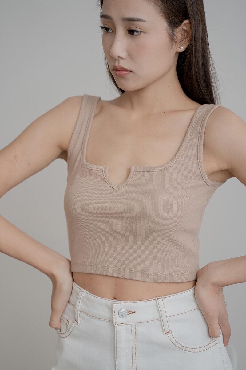 領口開衩羅紋短背心