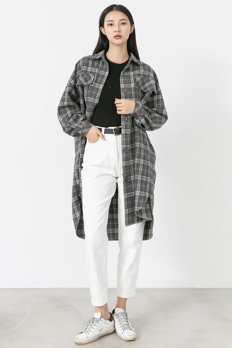 毛呢襯衫式格紋外套