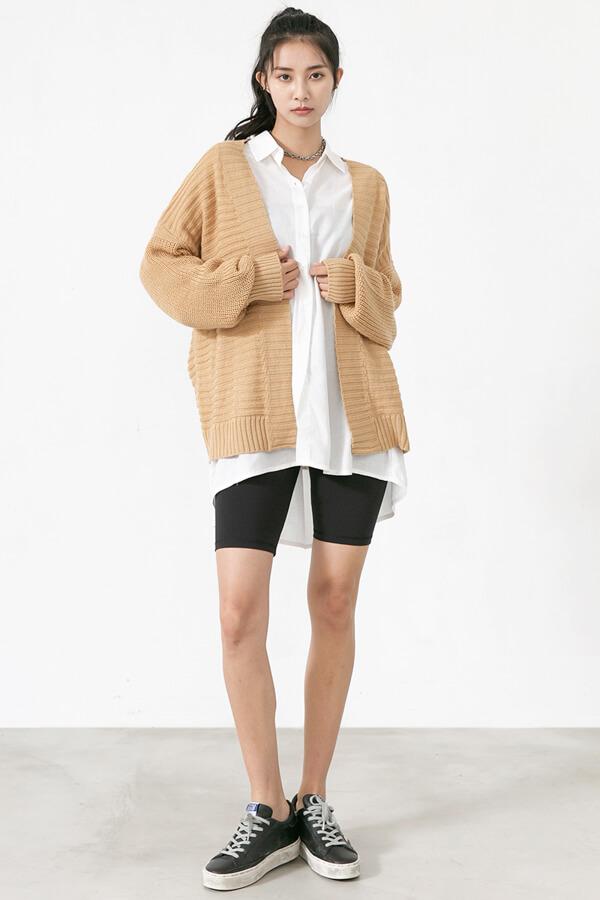 粗針織橫條開襟衫