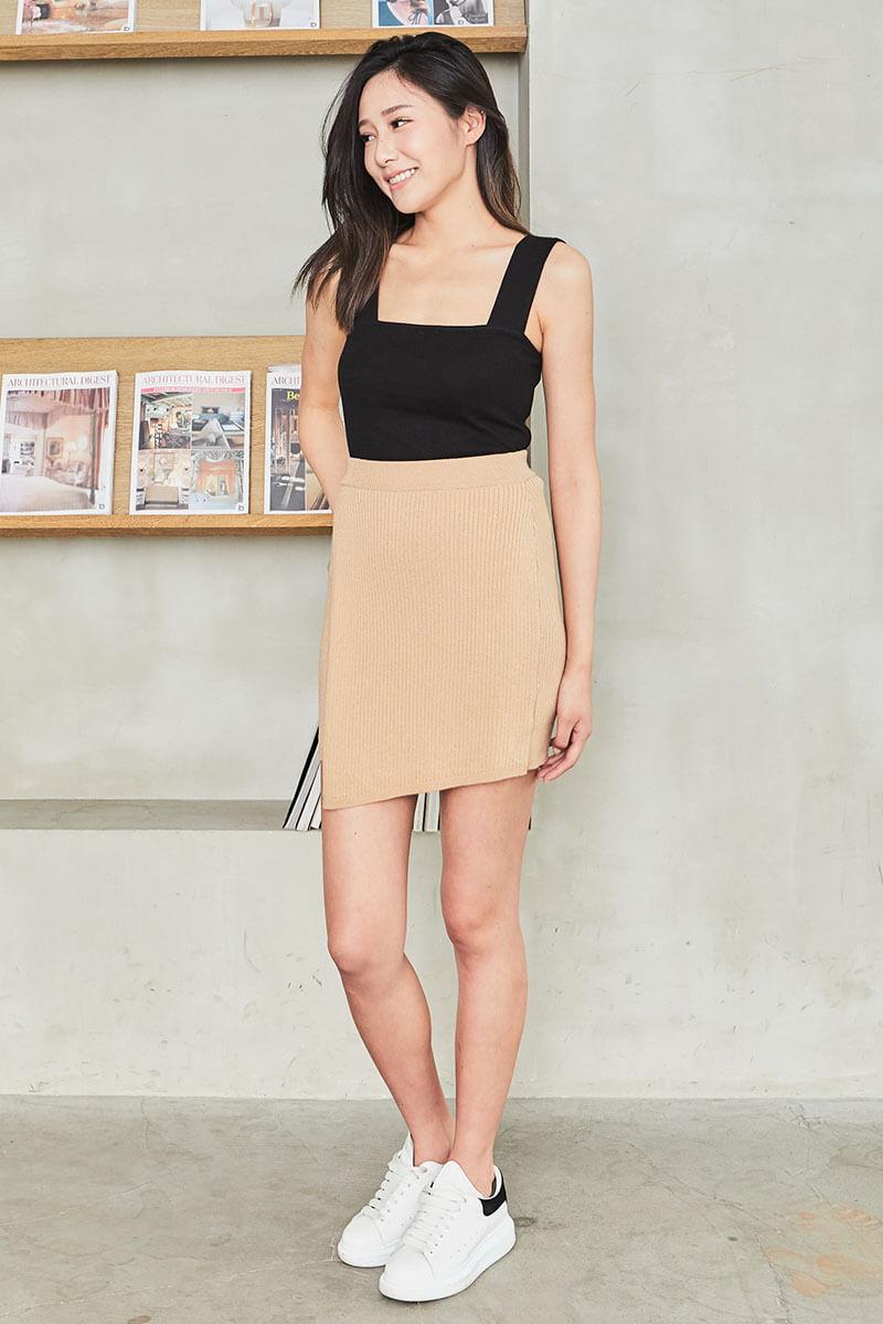 不對稱針織短裙