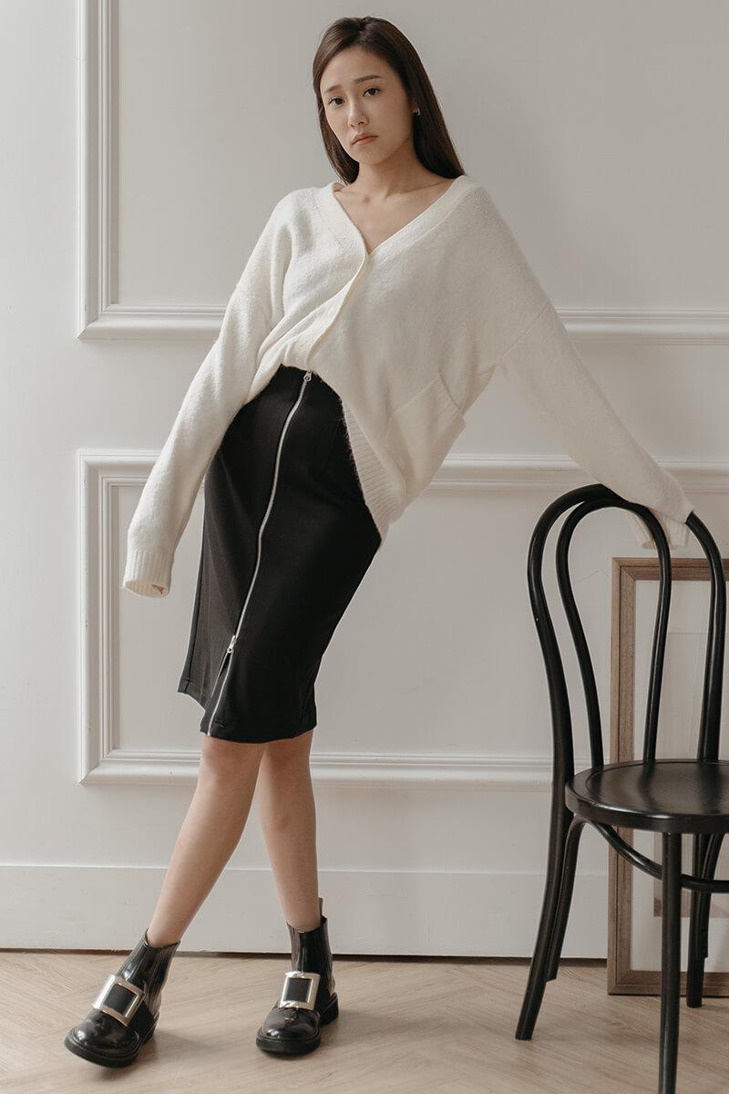 拉鍊裝飾鉛筆裙