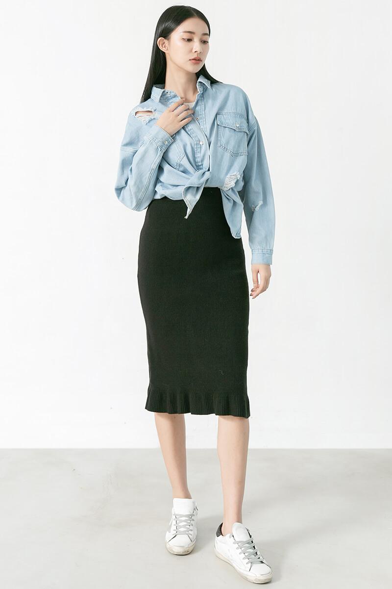 荷葉下襬魚尾裙