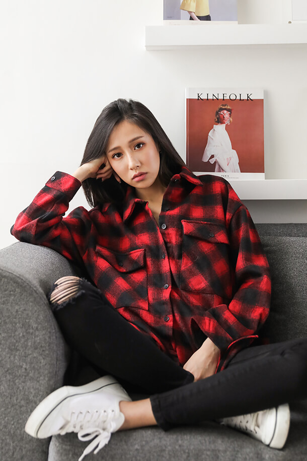 紅格紋襯衫外套