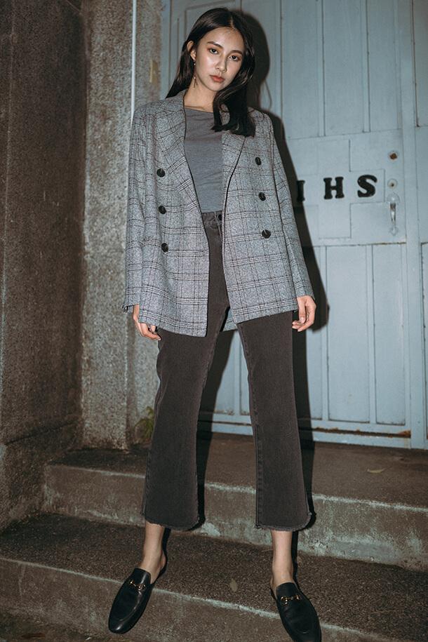 寬鬆版格紋西裝外套