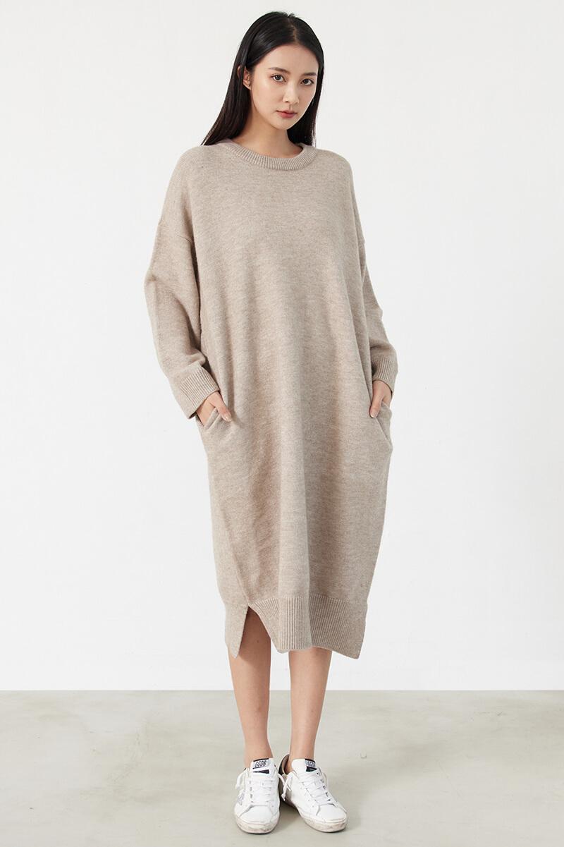 寬鬆針織長洋裝