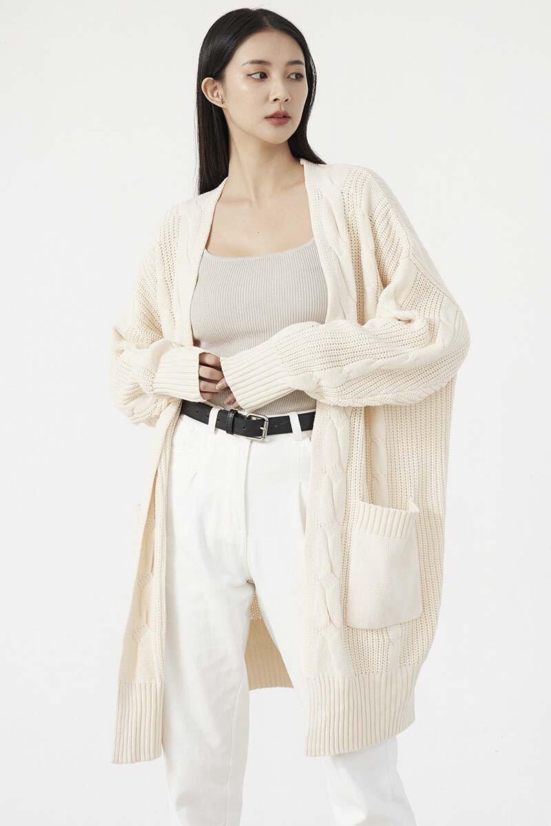 寬鬆麻花針織開襟衫