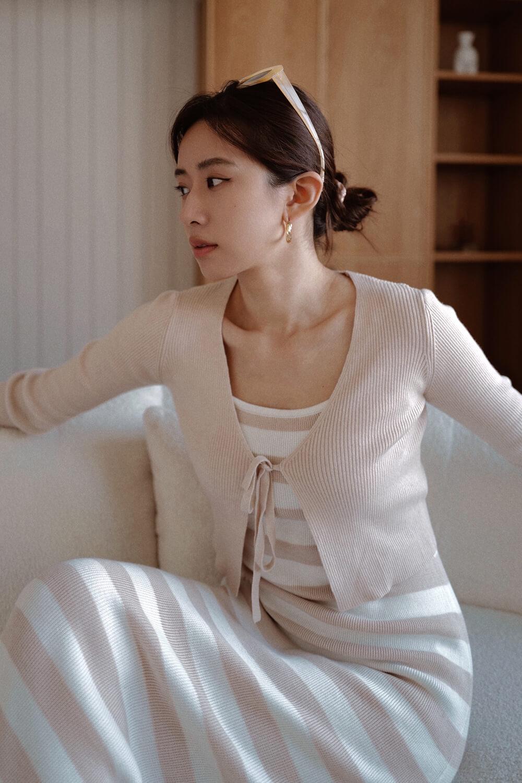 前綁帶開襟毛衣