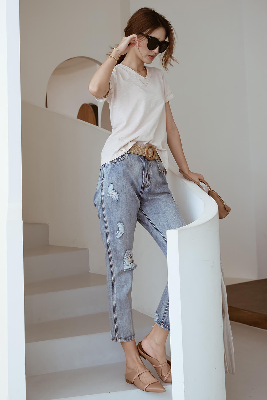 V領竹節棉T恤