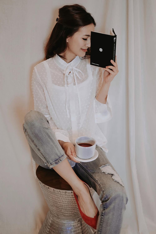 繡花雪紡襯衫