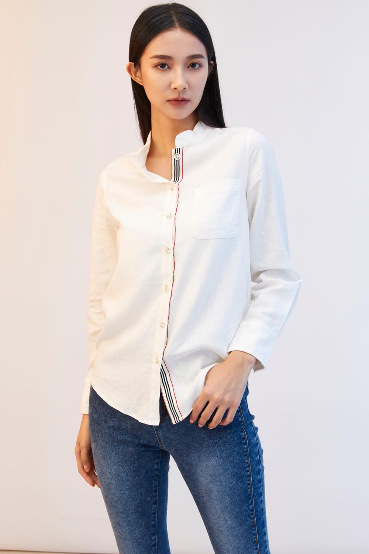 品牌釦織帶棉麻襯衫