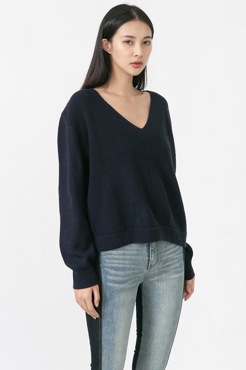 V領寬版毛衣