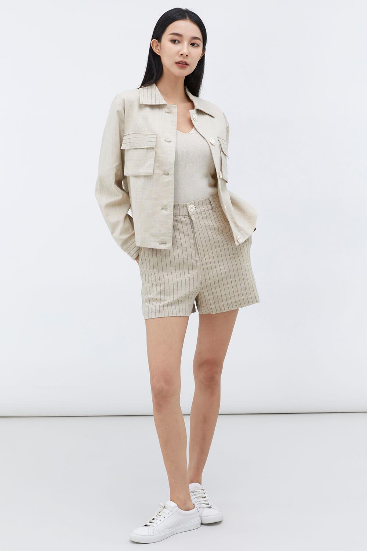 條紋麻棉休閒短褲