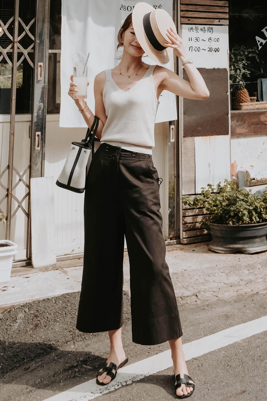 黑色品牌排釦寬褲