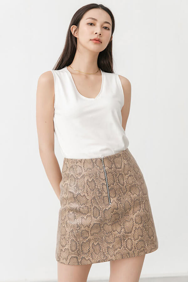 動物紋皮裙
