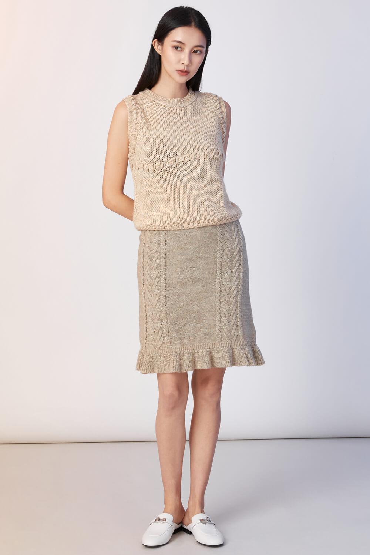 麻花針織短裙