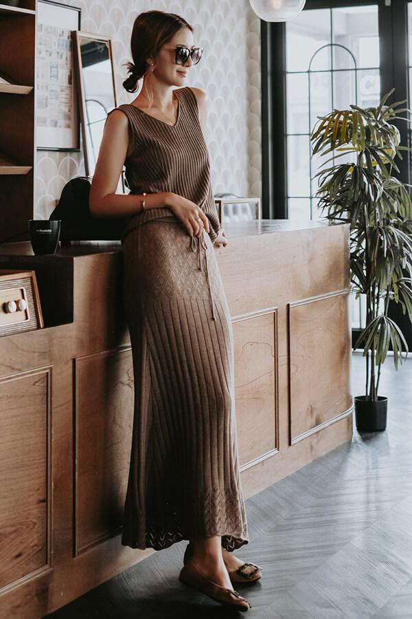 挑針魚尾針織長裙