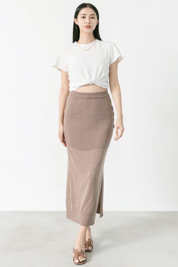 造型鈕釦針織長裙