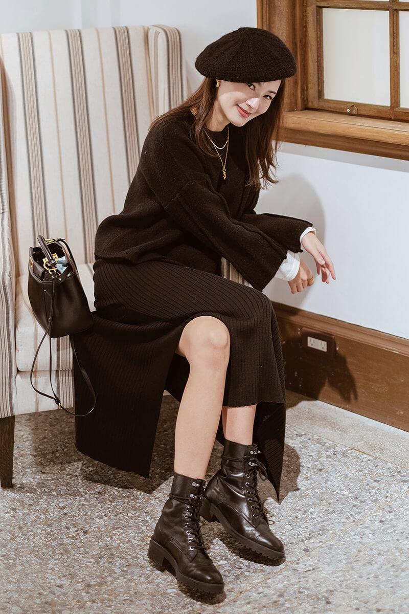 斜片開衩針織長裙