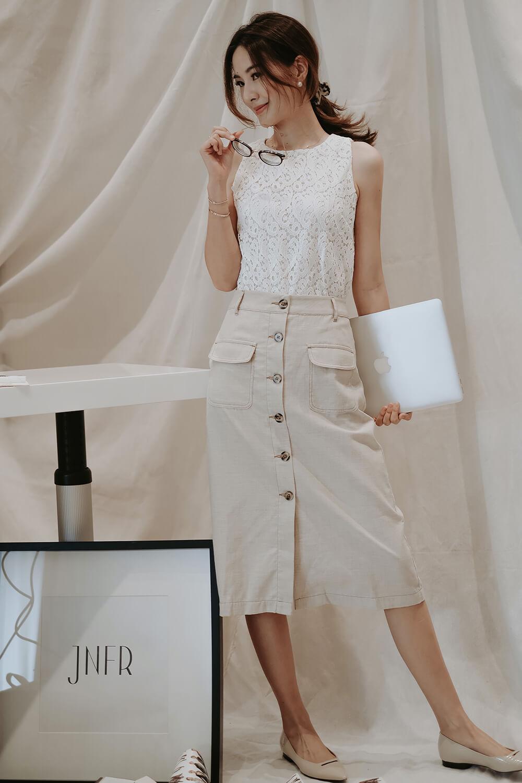 貼袋排釦長裙