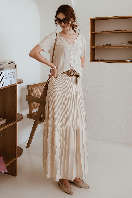坑條針織裙