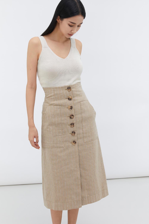 高腰棉麻條紋裙