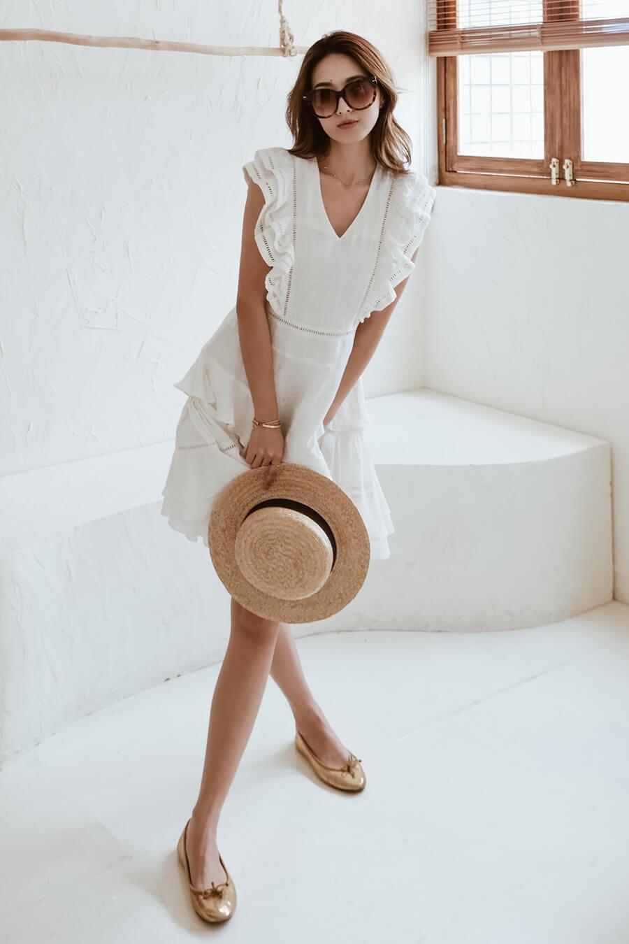 棉麻荷葉袖洋裝