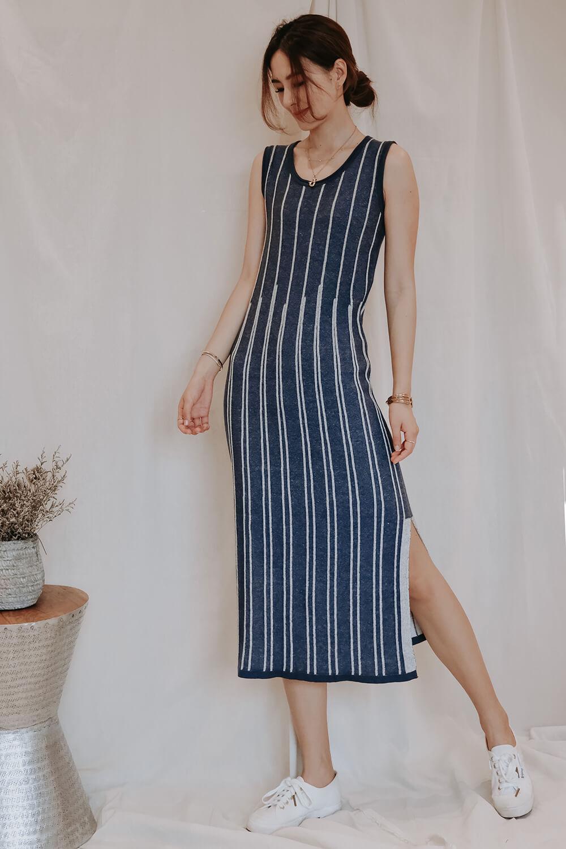 直條針織連身裙