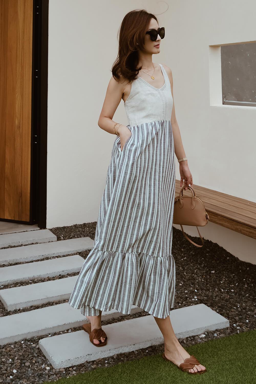 條紋棉麻長洋裝