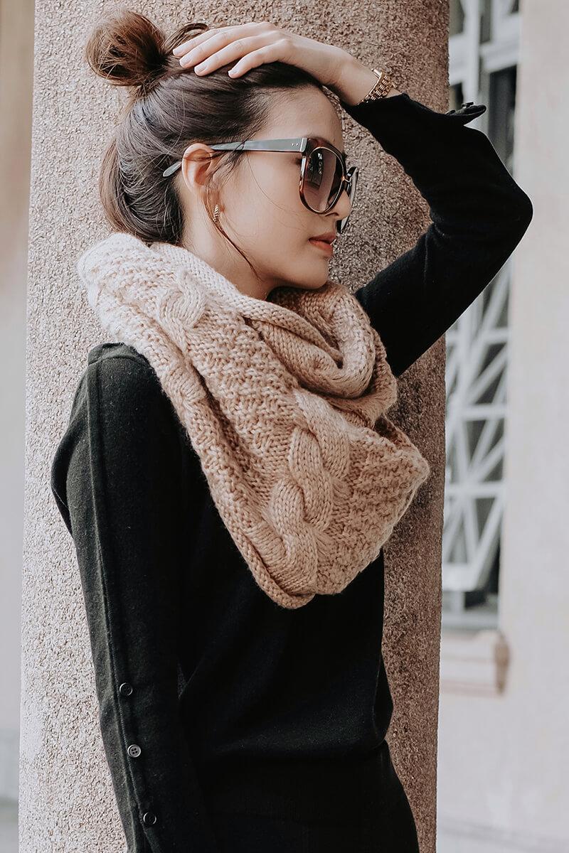 粗針麻花圍巾
