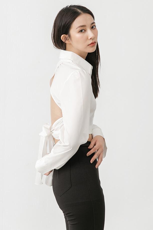 背鏤空綁帶襯衫