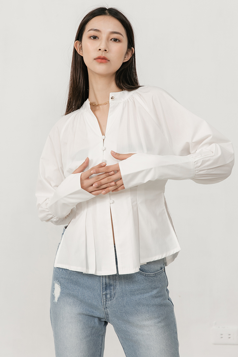 澎袖排釦襯衫
