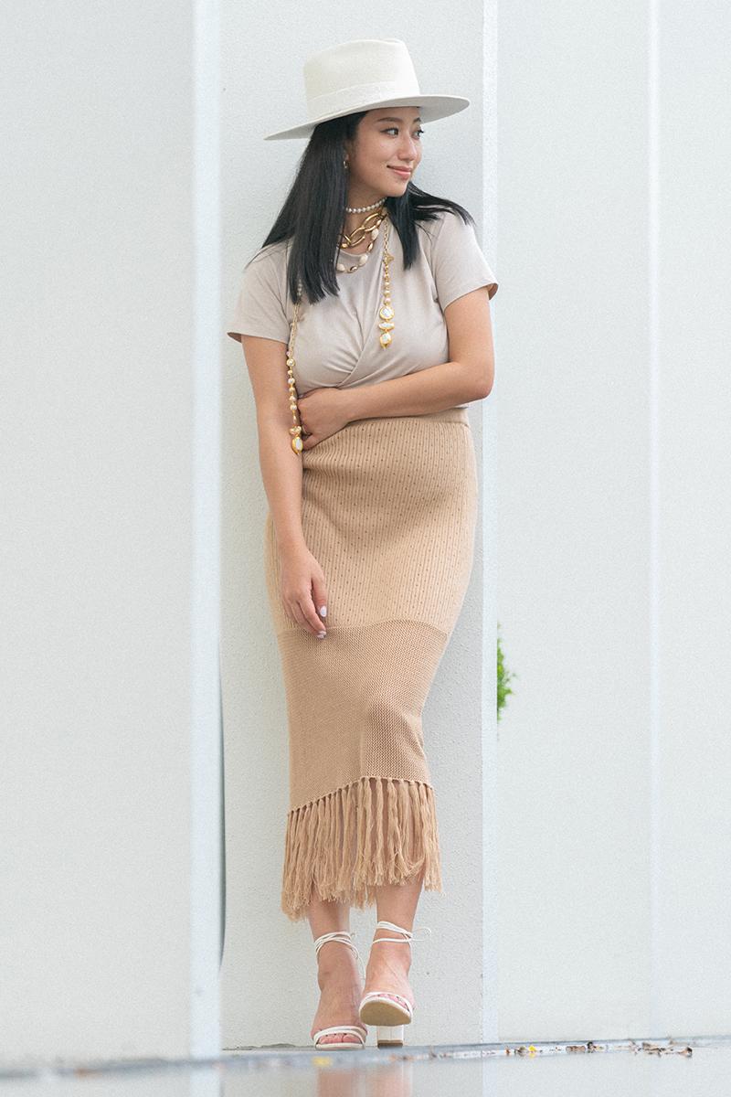 流蘇下襬針織長裙