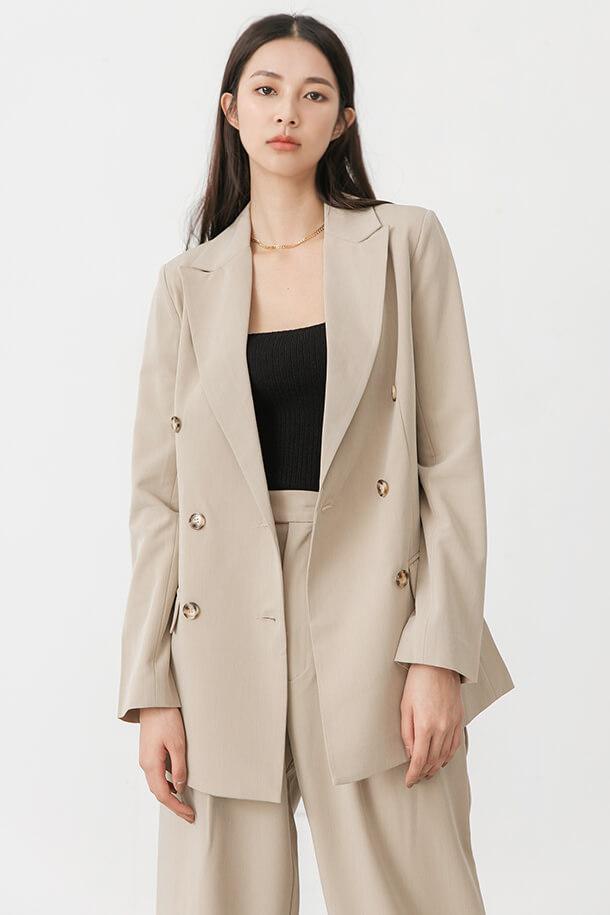 背鏤空綁帶西裝外套