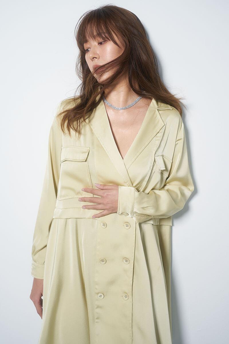雙排釦風衣洋裝