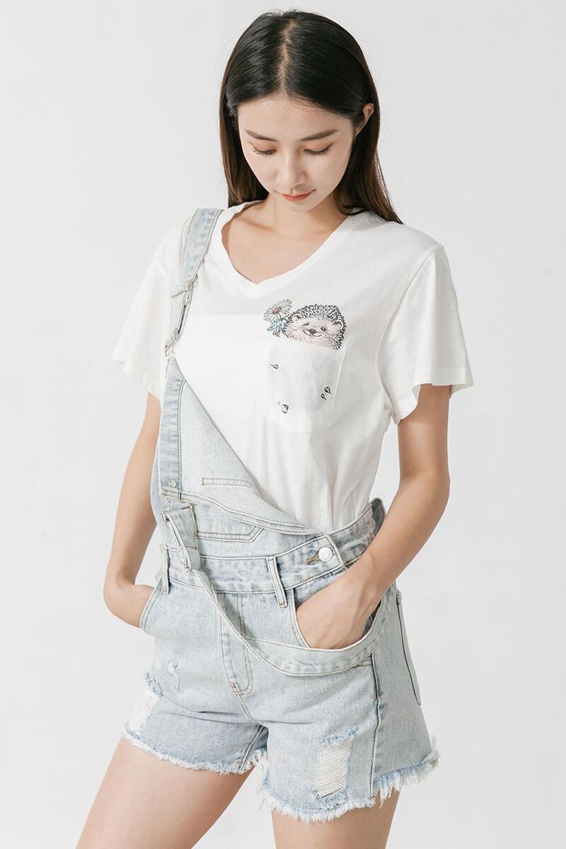 刺蝟口袋印花T恤