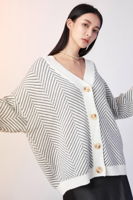 斜紋開襟毛衣