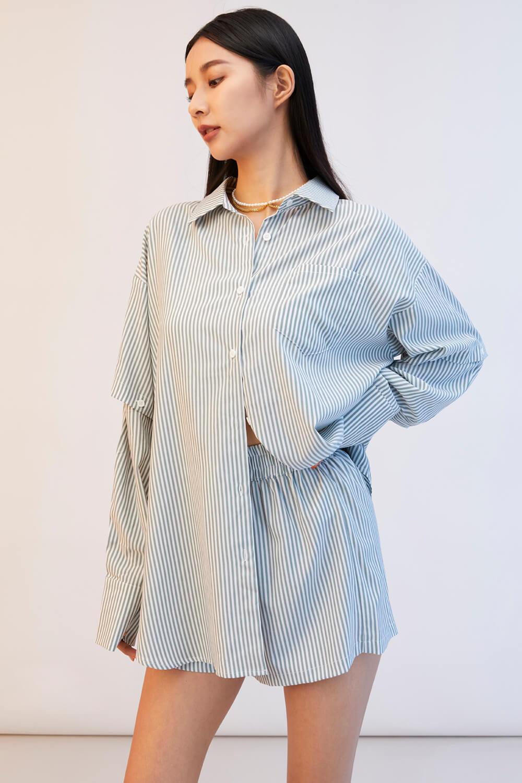 條紋襯衫休閒套裝