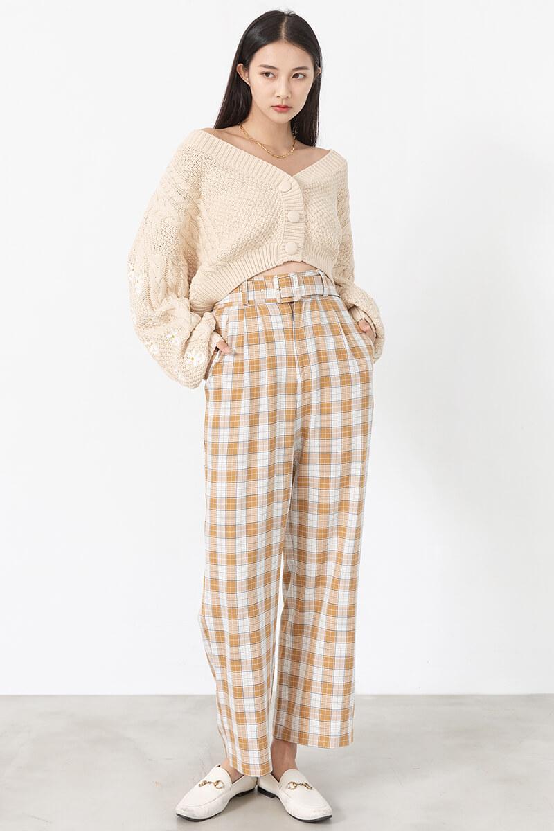 方釦格紋寬褲