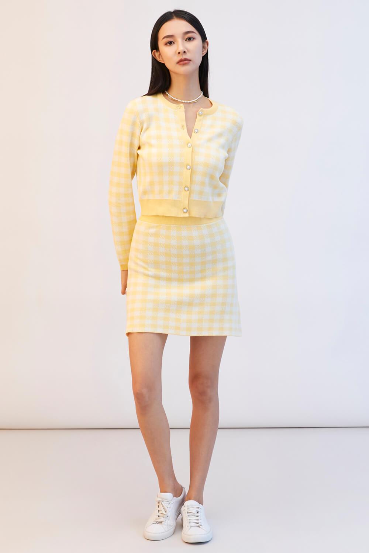 格紋針織短裙