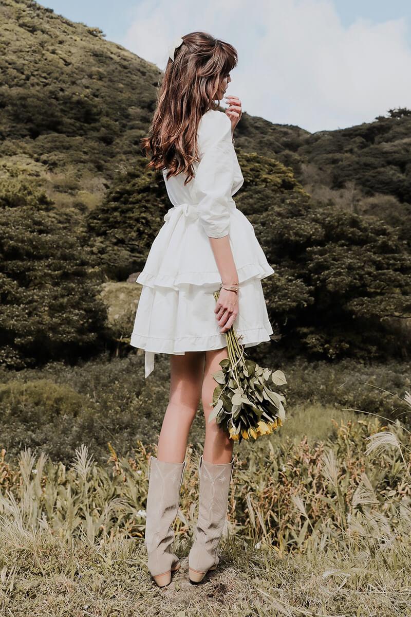 綁帶棉麻洋裝