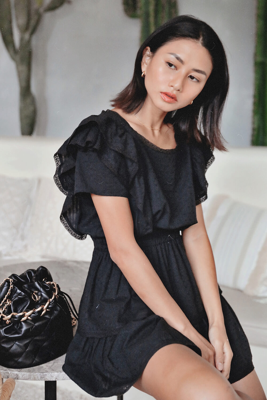 蕾絲荷葉短洋裝
