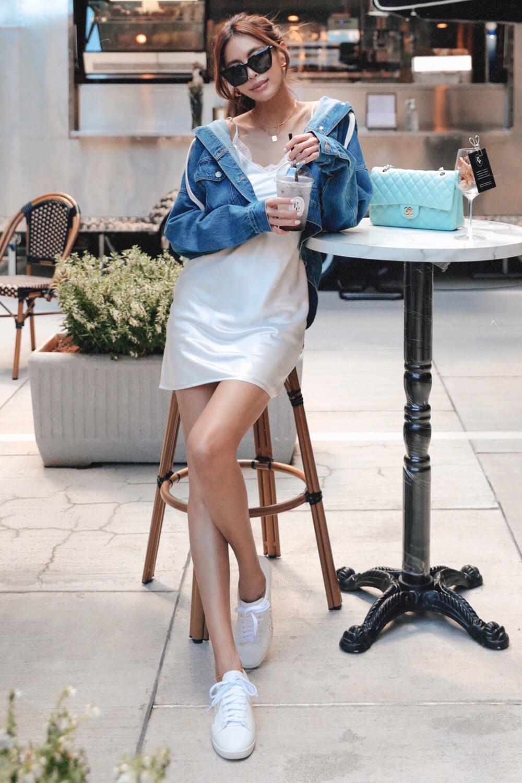 蕾絲細肩緞面洋裝