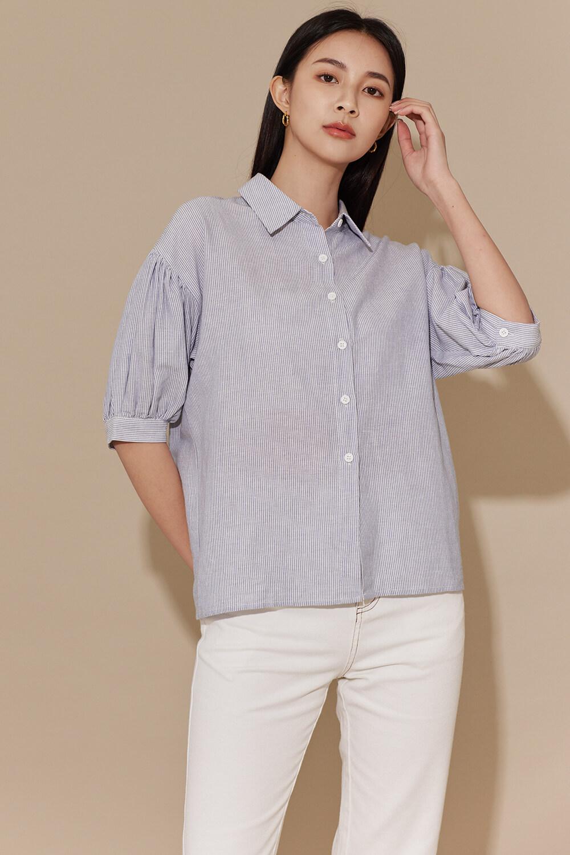 條紋澎袖襯衫