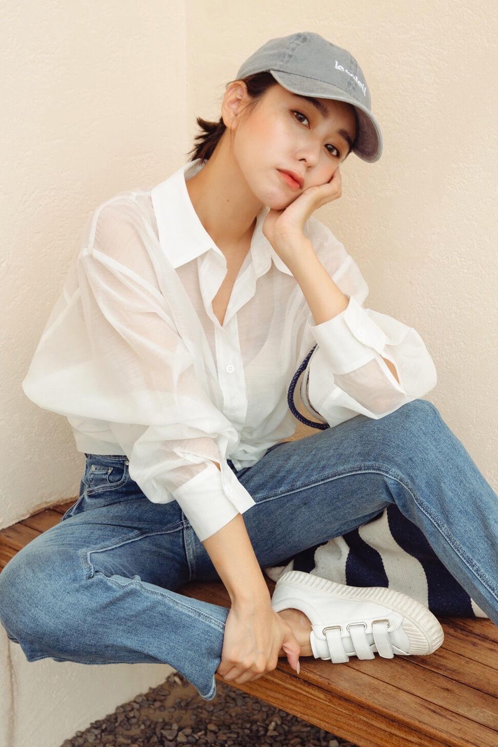 微透寬鬆襯衫