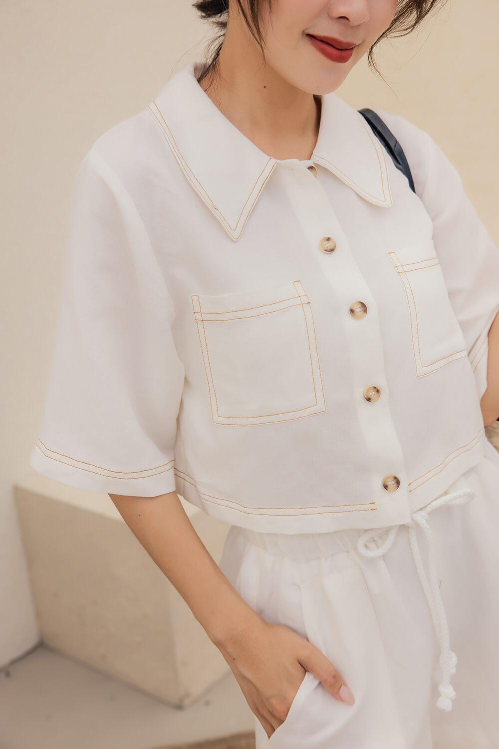 明線棉麻襯衫