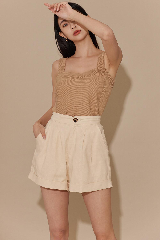 棉麻西裝短褲