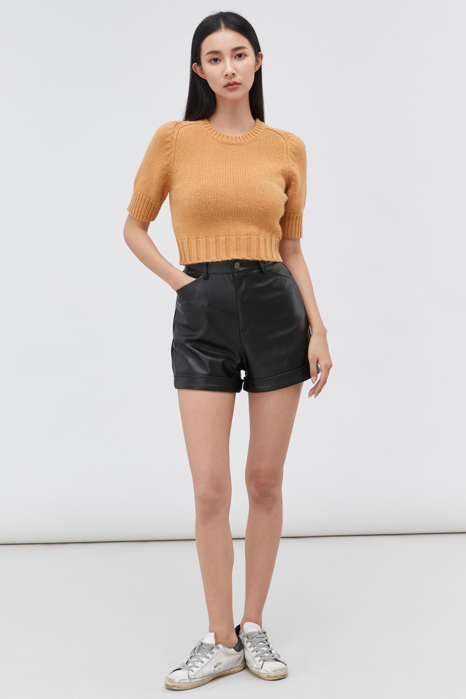 高腰皮質短褲