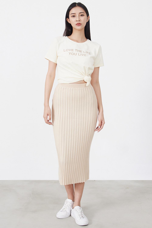 坑條針織長裙