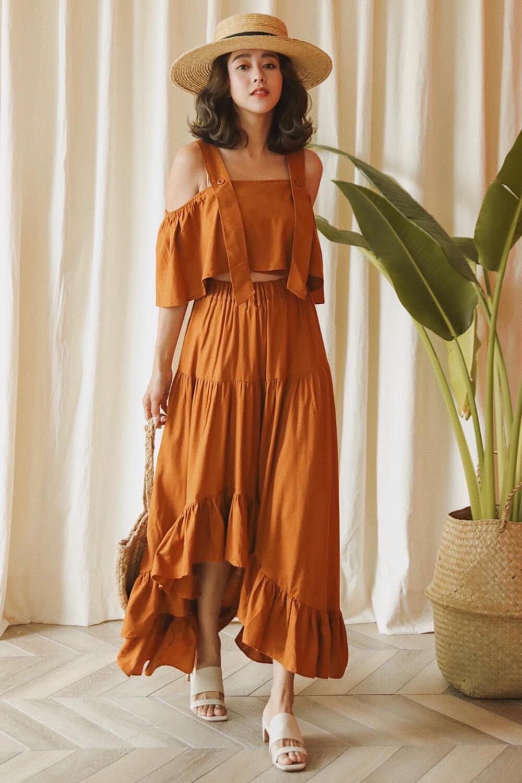 荷葉裙襬長裙
