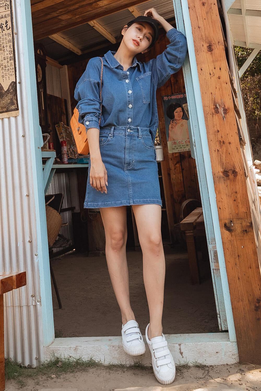 彈性牛仔短裙